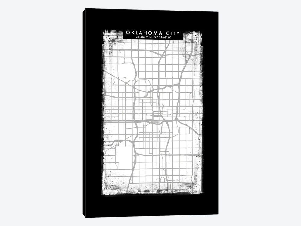 Oklahoma City Map Black White Grey Style by WallDecorAddict 1-piece Canvas Print