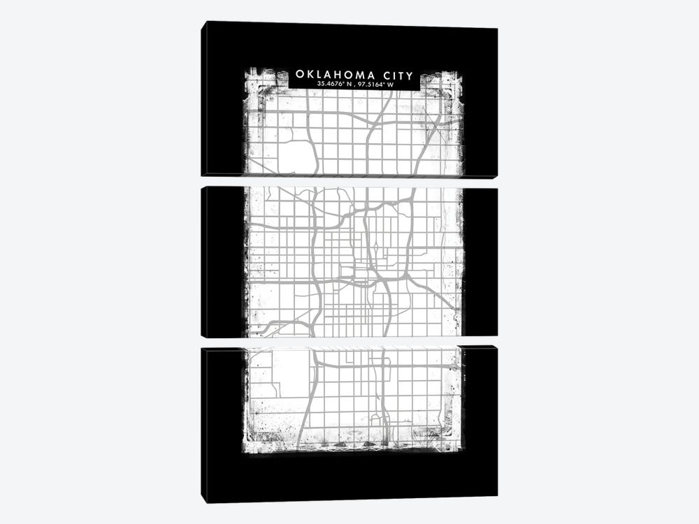 Oklahoma City Map Black White Grey Style by WallDecorAddict 3-piece Canvas Print