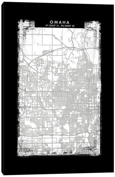 Omaha City Map Black White Grey Style Canvas Art Print