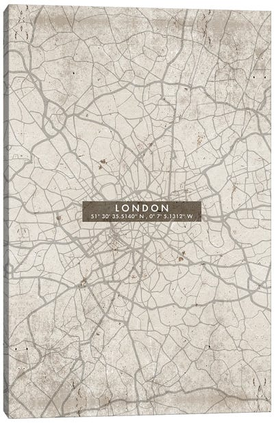 London City Map Abstract Canvas Art Print