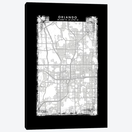 Orlando City Map Black White Grey Style Canvas Print #WDA2080} by WallDecorAddict Canvas Wall Art