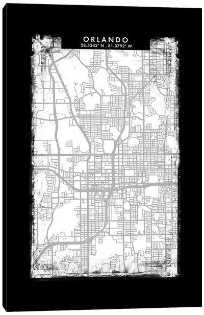 Orlando City Map Black White Grey Style Canvas Art Print