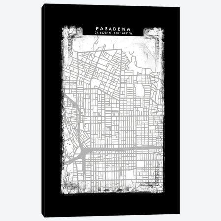 Pasadena City Map Black White Grey Style Canvas Print #WDA2082} by WallDecorAddict Canvas Wall Art