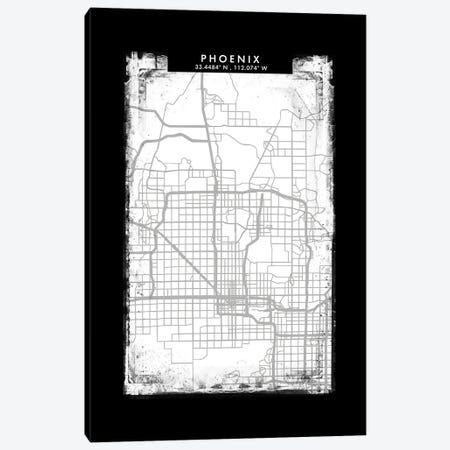 Phoenix City Map Black White Grey Style Canvas Print #WDA2083} by WallDecorAddict Canvas Art