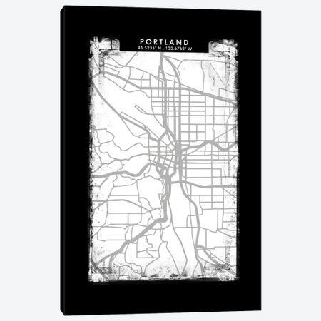 Portland City Map Black White Grey Style Canvas Print #WDA2084} by WallDecorAddict Canvas Art Print