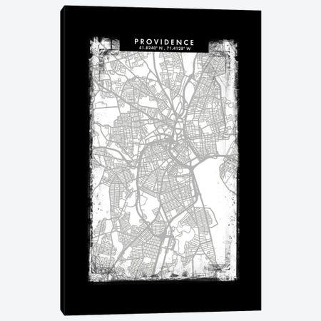 Providence City Map Black White Grey Style Canvas Print #WDA2086} by WallDecorAddict Canvas Art Print