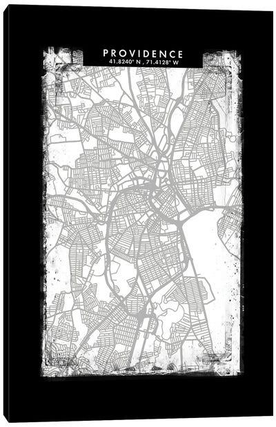 Providence City Map Black White Grey Style Canvas Art Print