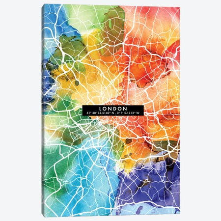 London City Map Colorful Canvas Print #WDA208} by WallDecorAddict Canvas Art Print