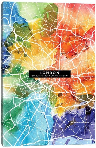 London City Map Colorful Canvas Art Print
