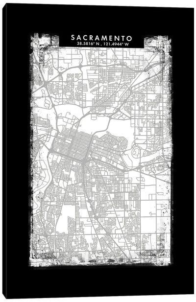 Sacramento City Map Black White Grey Style Canvas Art Print