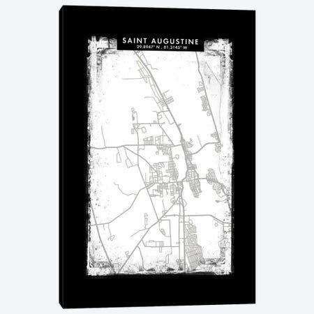 Saint Augustine City Map Black White Grey Style Canvas Print #WDA2092} by WallDecorAddict Art Print