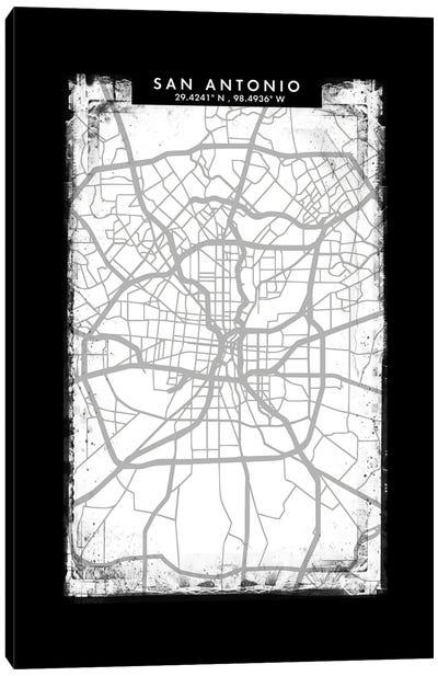 San Antonio City Map Black White Grey Style Canvas Art Print