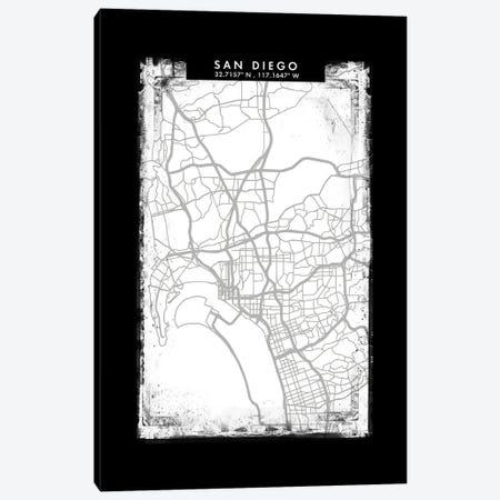 San Diego City Map Black White Grey Style Canvas Print #WDA2097} by WallDecorAddict Canvas Wall Art