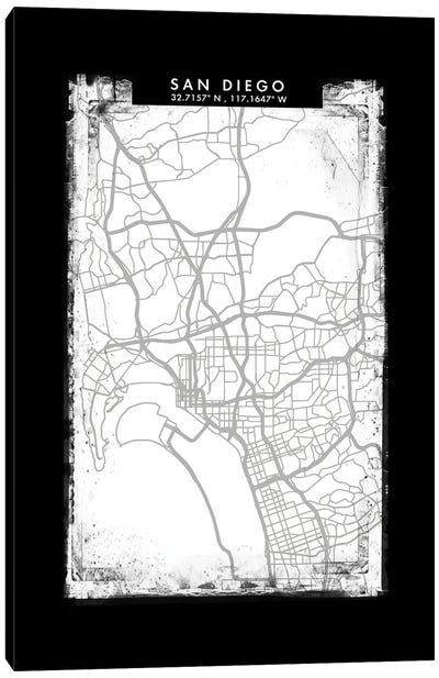 San Diego City Map Black White Grey Style Canvas Art Print