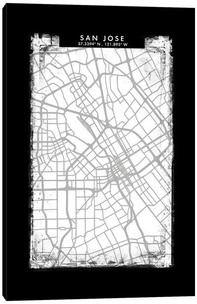 San Jose City Map Black White Grey Style Canvas Art Print