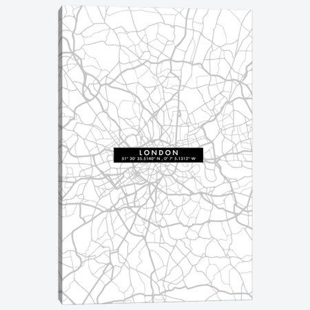 London City Map Minimal Canvas Print #WDA209} by WallDecorAddict Canvas Art Print