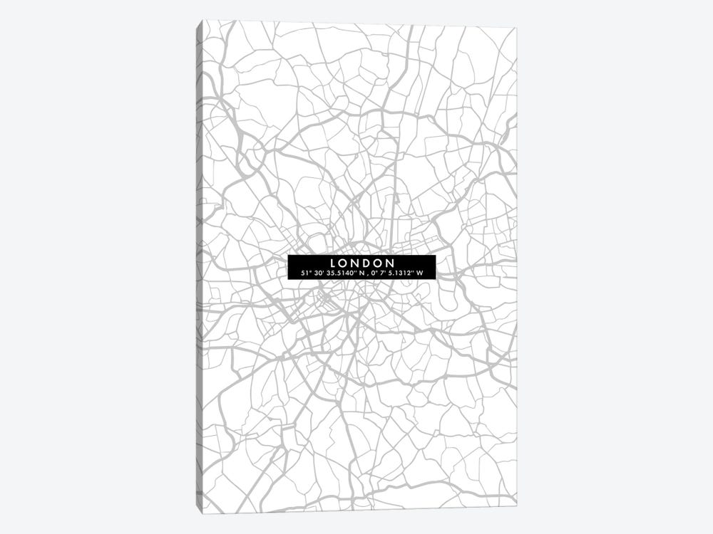 London City Map Minimal by WallDecorAddict 1-piece Canvas Art Print