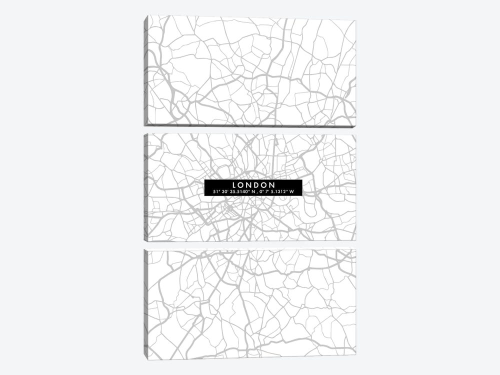 London City Map Minimal by WallDecorAddict 3-piece Art Print