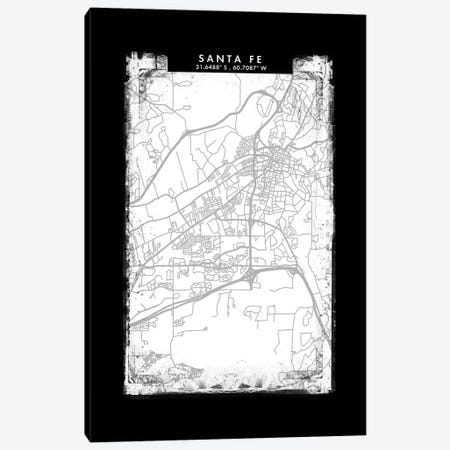 Santa Fe, Argentina City Map Black White Grey Style Canvas Print #WDA2100} by WallDecorAddict Art Print