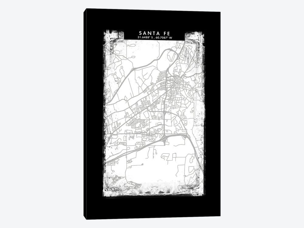 Santa Fe, Argentina City Map Black White Grey Style by WallDecorAddict 1-piece Canvas Print
