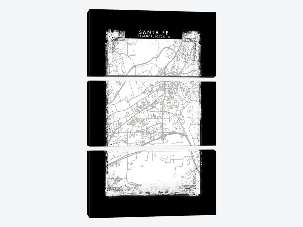 Santa Fe, Argentina City Map Black White Grey Style by WallDecorAddict 3-piece Canvas Print