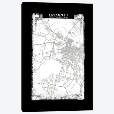Savannah, Georgia City Map Black White Grey Style Canvas Print #WDA2102} by WallDecorAddict Canvas Art Print