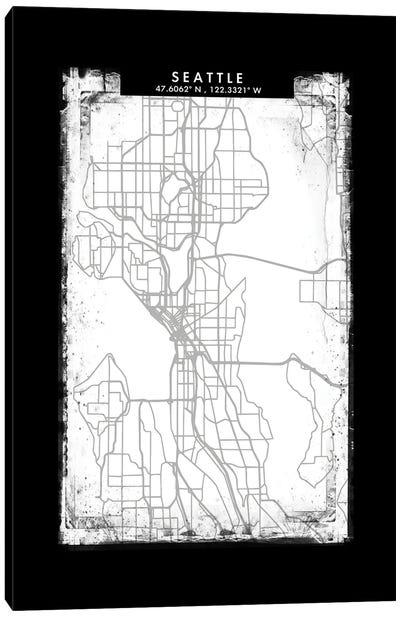 Seattle City Map Black White Grey Style Canvas Art Print