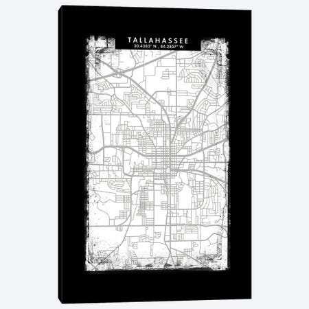 Tallahassee, Florida City Map Black White Grey Style Canvas Print #WDA2109} by WallDecorAddict Canvas Print