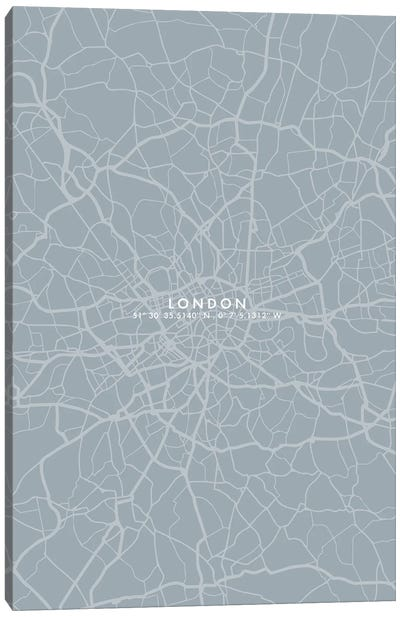 London City Map Simple Color Canvas Art Print