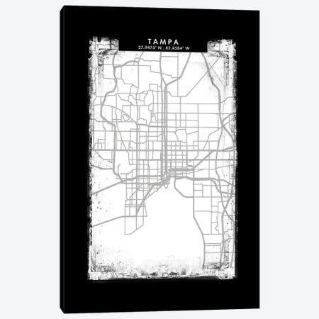 Tampa City Map Black White Grey Style Canvas Print #WDA2110} by WallDecorAddict Canvas Art