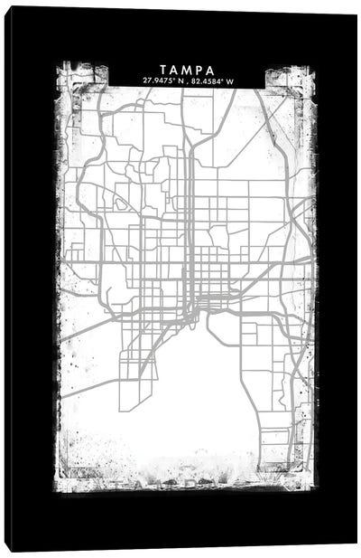 Tampa City Map Black White Grey Style Canvas Art Print