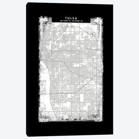 Tulsa City Map Black White Grey Style Canvas Print #WDA2112} by WallDecorAddict Canvas Art
