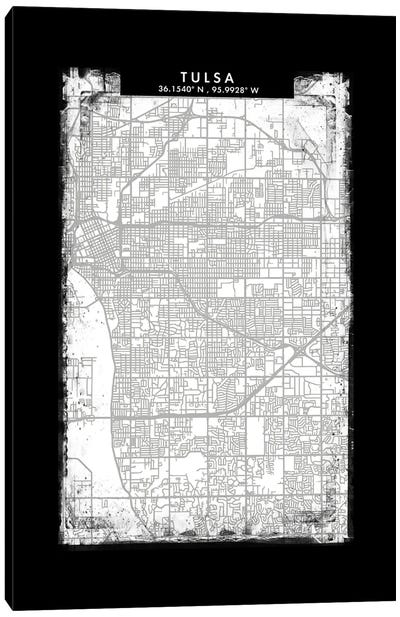 Tulsa City Map Black White Grey Style Canvas Art Print