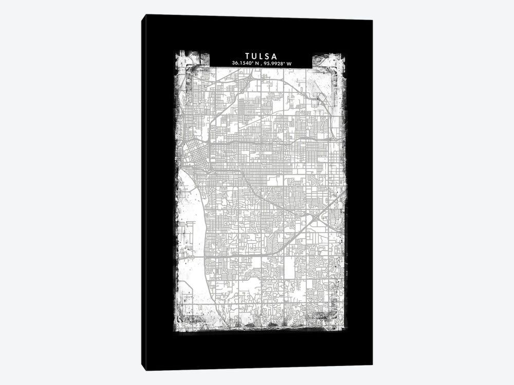 Tulsa City Map Black White Grey Style by WallDecorAddict 1-piece Canvas Artwork