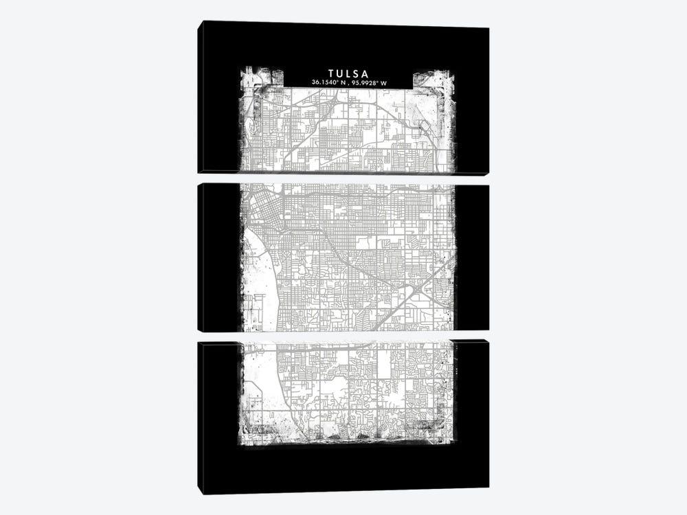 Tulsa City Map Black White Grey Style by WallDecorAddict 3-piece Canvas Art