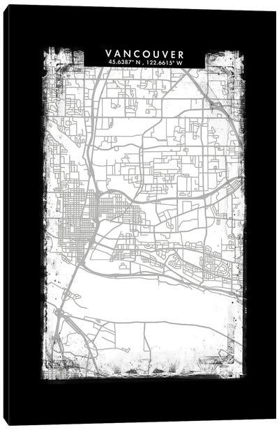 Vancouver City Map Black White Grey Style Canvas Art Print
