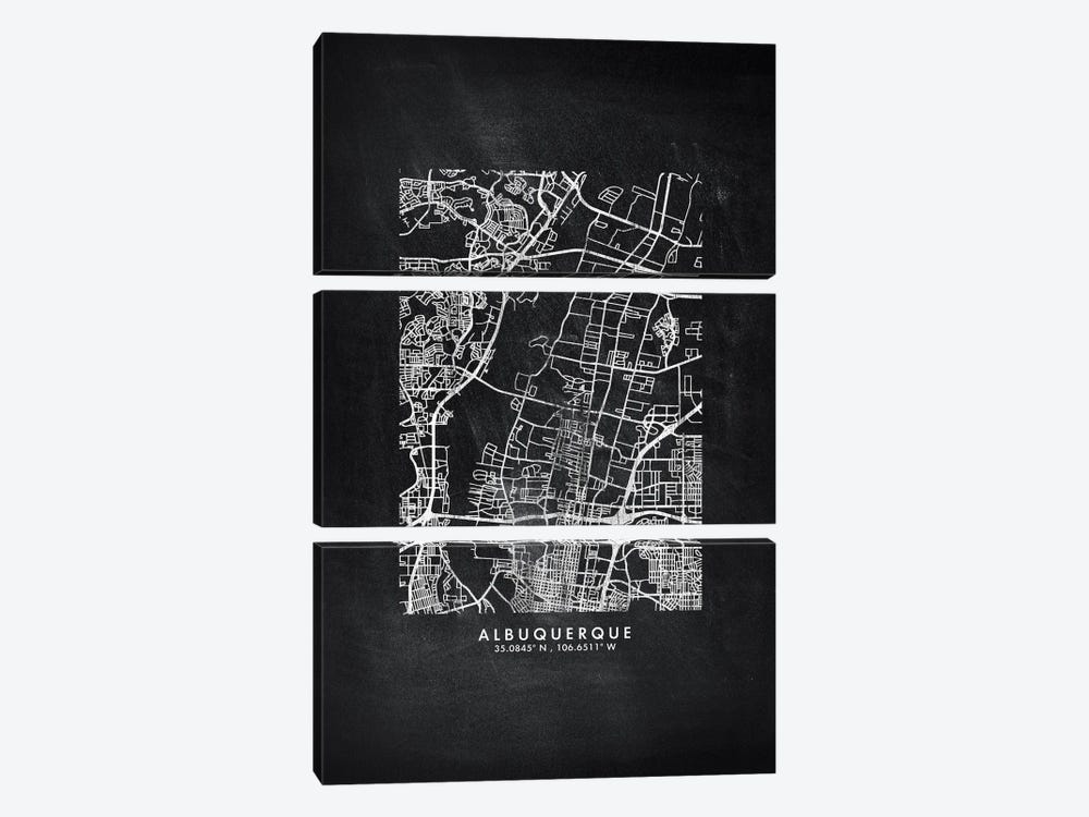 Albuquerque City Map Chalkboard Style by WallDecorAddict 3-piece Canvas Art Print