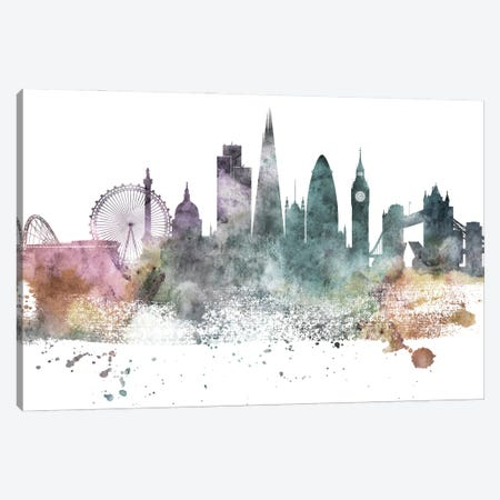 London Pastel Skylines Canvas Print #WDA211} by WallDecorAddict Canvas Wall Art