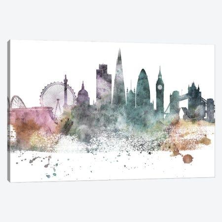 London Pastel Skylines Canvas Print #WDA211} by WallDecorAddict Canvas Wall Art