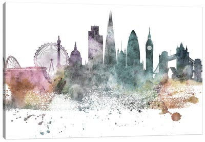 London Pastel Skylines Canvas Art Print