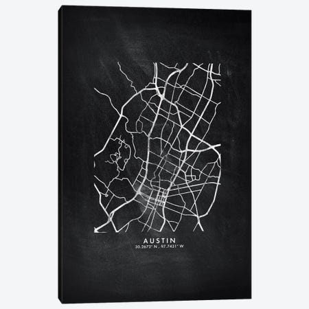 Austin City Map Chalkboard Style Canvas Print #WDA2121} by WallDecorAddict Canvas Print