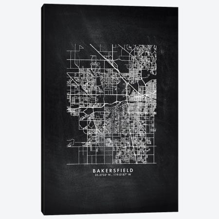 Bakersfield City Map Chalkboard Style Canvas Print #WDA2122} by WallDecorAddict Canvas Art Print
