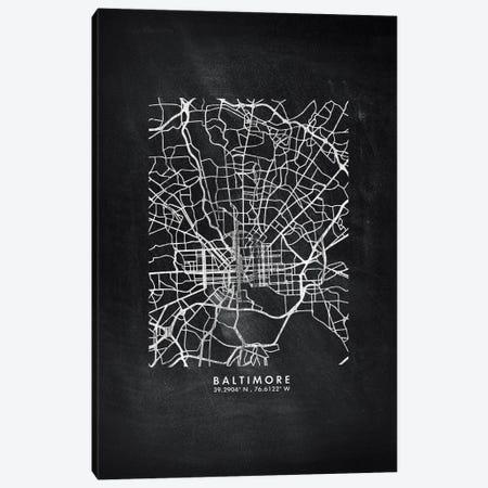 Baltimore City Map Chalkboard Style Canvas Print #WDA2123} by WallDecorAddict Art Print