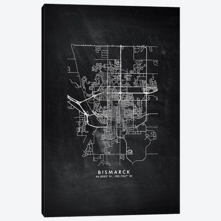 Bismarck, North Dakota City Map Chalkboard Style Canvas Print #WDA2126} by WallDecorAddict Canvas Artwork