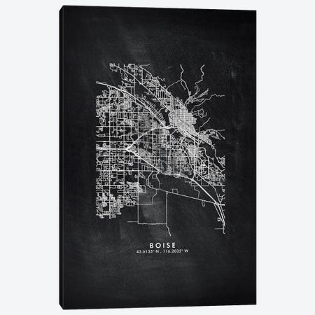 Boise City Map Chalkboard Style Canvas Print #WDA2127} by WallDecorAddict Canvas Art