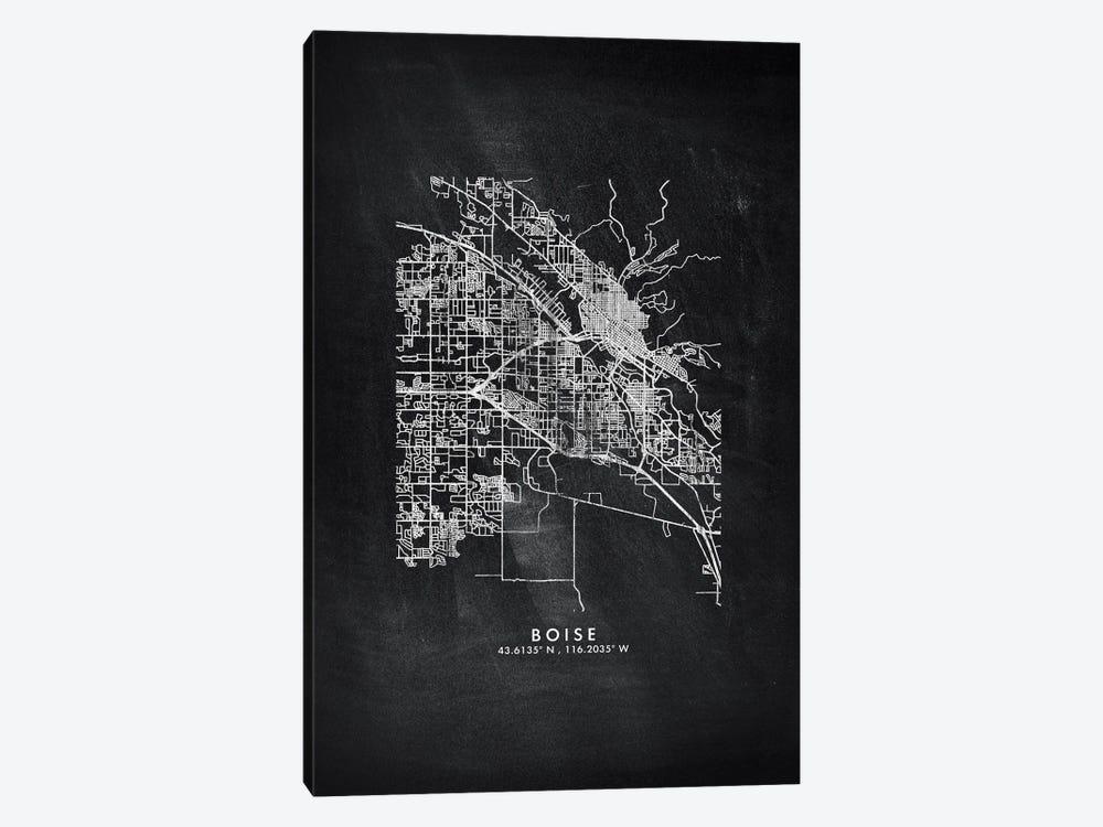 Boise City Map Chalkboard Style by WallDecorAddict 1-piece Canvas Artwork