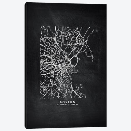Boston City Map Chalkboard Style Canvas Print #WDA2128} by WallDecorAddict Canvas Print