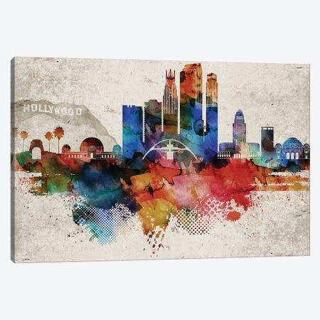 Los Angeles Abstract Canvas Print #WDA212} by WallDecorAddict Canvas Wall Art