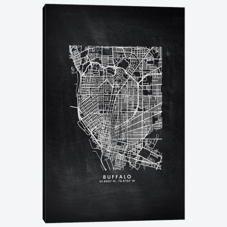 Buffalo City Map Chalkboard Style Canvas Print #WDA2133} by WallDecorAddict Canvas Wall Art