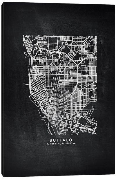 Buffalo City Map Chalkboard Style Canvas Art Print